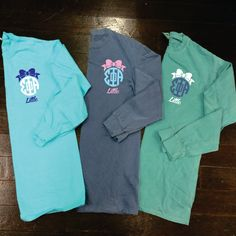 Big/Little/GBig Bow Sorority Monogram Comfort Colors Long Sleeve T-Shirt by CampusConnection on Etsy