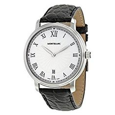 01184359a Amazon.com: Montblanc Tradition Date White Guilloche Dial Black Leather Mens  Watch 112633: Watches