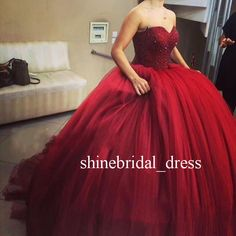 Sweet 15 16 Burgundy Quinceanera Dresses Puffy Prom Formal Ball Wedding Gowns…