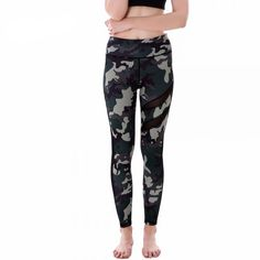 Green Camouflage with Black Mesh Lines Women's Leggings Printed Yoga Pants Workout $28.99 + FREE Shipping Worldwide
