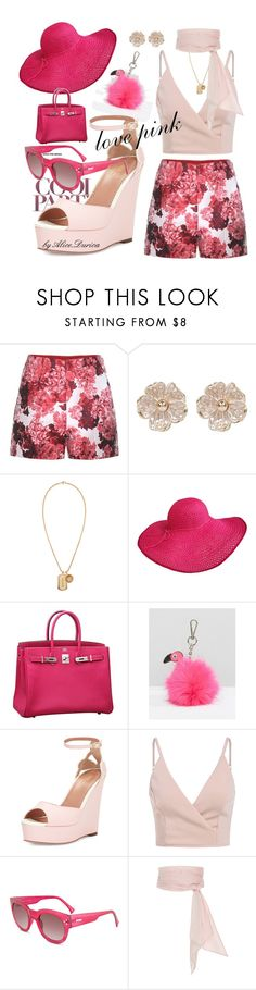 """love pink"" by alice-durica ❤ liked on Polyvore featuring Moncler Gamme Rouge, River Island, Versace, Hermès, Skinnydip, RED Valentino, MINKPINK and MDS Stripes"