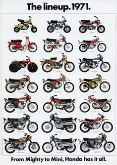 Vintage Motorcycles 1971 - The Honda Motorcycle Lineup - From Mighty To Mini! Motos Vintage, Vintage Bikes, Vintage Cars, Vintage Cycles, Vintage Honda Motorcycles, Honda Bikes, Motos Trial, Cb 450, Honda Powersports
