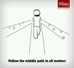 Follow the middle path in all matters. Islam.