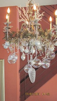 Christmas home tour 2013 pinterest bronze spray paint color chandelier aloadofball Image collections