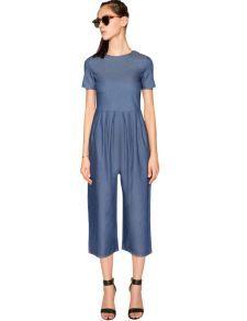 Pixie Market Denim Culotte Jumpsuit - Crop Wide Leg Jumpsuit -$62