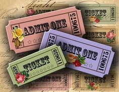 Vintage Looking Tickets with Roses 125 X 285 by DigitalPerfection, $4.00