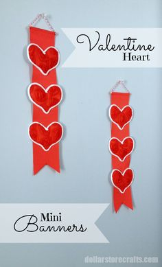 Dollar Store Craft - Tutorial: Mini Valentine's Day Banners.