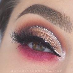 Glittery Pink Eye Makeup Tutorial - Beauty - Augen Make Up Bold Eye Makeup, Cut Crease Makeup, Eye Makeup Steps, Makeup Eye Looks, Beautiful Eye Makeup, Eye Makeup Art, Gold Makeup, Smokey Eye Makeup, Eyeshadow Makeup