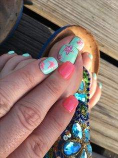 Matching mani and pedi for summer done at A Nail & Spa in Springfield, IL