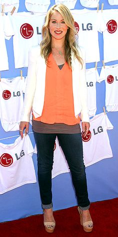 CHRISTINA APPLEGATE  Nervous that wearing neon will make you look like a giant highlighter? The actress shows how to avoid that by adding neutrals. She tops her hot-orange A.L.C. top with a draped white Rebecca Minkoff blazer, nude platforms and understated jewels at the LG 20 Magic Minutes event in Beverly Hills.