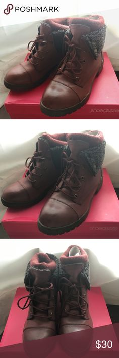 Burgundy Sweater Combat Boots I had a shoedazzle addiction for some time. Impulse buy, I have never worn these. They come in their original box. Love the fall time burgundy, good for the winter as well! ShoeDazzle Shoes Combat & Moto Boots