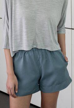 Blue shorts summer pants minimal style elastic waistband