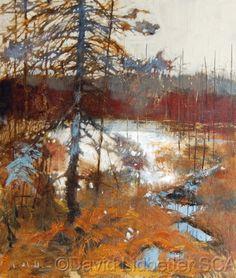 Landscape Paintings by David Lidbetter Contemporary Landscape, Abstract Landscape, Landscape Paintings, Landscape Design, Watercolor Trees, Canadian Artists, Cool Landscapes, Cool Paintings, Winter Landscape