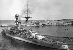15 in 'R' class battleship HMS Royal Oak, here seen at Malta between the wars, saw action at Jutland in 1916 a month after commissioning.  Modernised twice in the 1920s and 1930s, she was torpedoed and sunk by U-47 whilst anchored at Scapa Flow on 14 October 1939 with the loss of 833 of her 1,234 crew: a remarkable but tragic feat of arms.