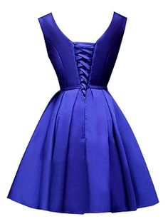 Shop Blue Plunge Neck Bowknot Waist Lacing Back Prom Skater Dress from choies.com .Free shipping Worldwide.$52.99