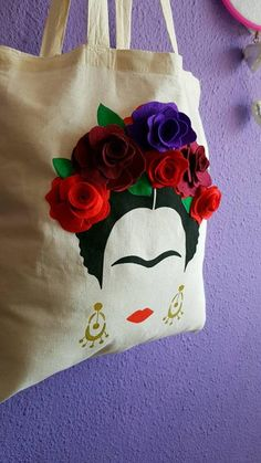 With hand-stitched flowers. Painted Bags, Hand Painted, Sewing Crafts, Sewing Projects, Mexican Crafts, Bag Women, Diy Tote Bag, Tote Bags, Paperclay