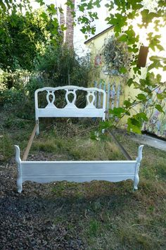 Shayna says: Am I the only one who sees a bed and frame in the yard as flower or vegetable garden holder?
