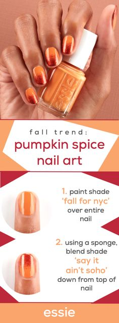 get a pumpkin spice-inspired ombre mani for autumn with the new essie fall 2018 collection. first, apply shade 'fall for nyc' over entire nail. then, using a sponge, blend shade 'say it ain't soho' down from the top of the nail, creating an ombre effect. Elegant Nail Designs, Elegant Nails, Toe Nail Designs, Classy Nails, Acrylic Nail Designs, Trendy Nails, Essie, Light Colored Nails, Clear Acrylic Nails