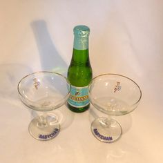Pair of early design Babycham glasses  original by RetroriginalUK  Barware   Glasses  Babycham  Deer  champagne glasses  glass  blue  white  cava  prosecco  1950s  vintage  barware