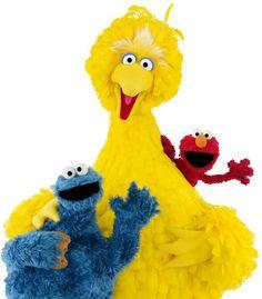Elmo, Big Bird, Cookie Monster: Red, Yellow, Blue.