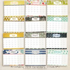 FREE Printable 2016 Calendars