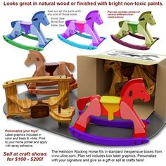 Quick n' Easy Heirloom Rocking Horse Wood Toy Plan Set Scroll Saw Patterns Free, Cross Patterns, Wood Patterns, Embroidery Patterns, Hand Embroidery, Woodworking Toys, Woodworking Patterns, Woodworking Projects, All You Need Is