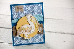 Fun Stampers Journey stamped summer crafted card with watercolor pelican featuring products from Spring Into Summer catalog