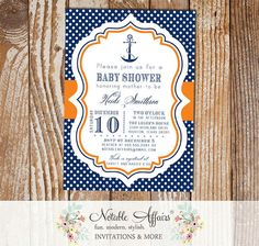 Navy Orange and White Polka Dots Anchor Nautical Baby Shower Birthday Invitation - choose colors by NotableAffairs