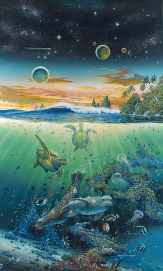 Society by Robert Lyn Nelson ~ under the sea art sea lions turtles jellyfish tropical fish