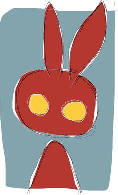 Coniglio rosso ideAZIONIvettoriali