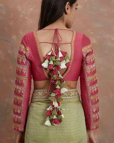 Bridal blouse designs 2020 latest saree blouse back designs - indian fashion ide Blouse Back Neck Designs, Netted Blouse Designs, Fancy Blouse Designs, Bridal Blouse Designs, Designs For Dresses, Blouse Lehenga, Latest Saree Blouse, Lehenga Choli, Sarees
