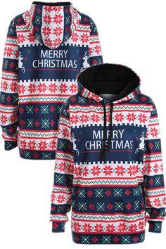 Plus Size Merry Christmas Snowflake Hoodie