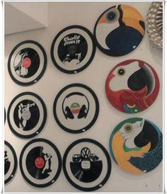 Mandalas de 45cm,com disco de vinil ou pintadas