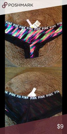 Vs PINK sheer back panty! Bright rainbow front, black sheer back nwt Victoria's Secret Intimates & Sleepwear Panties