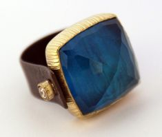 Maria Frantzi  - Ring in silver and 18ct gold set with a crystal and apatite doublet and brown diamonds  Kath Libbert Jewellery Gallery - Weddings