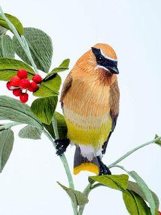 """Vegan Taxidermy"" - crepe paper birds by artist Aimee Baldwin"