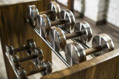 Luxury Fitness Home Gym Equipment and for Personal Studio. Dumbbells, Wal Bar, Exercise bench and kettlebells.