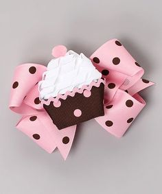 Look what I found on #zulily! Pink Polka Dot Bow & Brown Cupcake Clip Set #zulilyfinds
