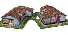 Metal Storage Shed for Diorama Free Building Paper Model Download
