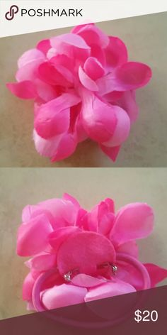 Pink Flower Pin/Hair Tie NWOT Gorgeous and vibrant.  Can be worn as a pin or in your hair. Accessories