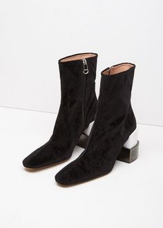 Velvet Block Heel Ankle Boot