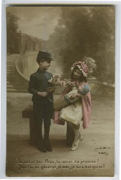 WWI ww1 First World War One 1 Boy & GIRL w/ DOLL Soldier Cute photo postcard  | eBay ~~Bordering on propaganda, there are many (esp. WWI era) greeting cards with these idyllic photos of family & traditional family and male/female roles, with either soldiers back from the front, as for Christmas, or as here, with the children dressed as soldiers and the girls as either mothers or nurses.