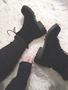 Suede Black Combat Boots