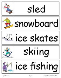 FREE Winter Word Wall Words: sled, snowboard, ice skates, skiing, ice fishing. Get all 30 winter words for your winter word walls for free here --> https://www.mpmschoolsupplies.com/ideas/7887/30-free-winter-word-wall-words/
