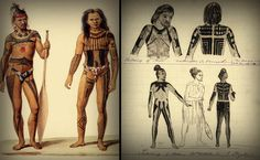 (left) Frontal view of full body tattoo of the Pingelap and Mwoakilloa Islanders, Micronesia, 1826. (right) Dorsal view of Pingelap and Mwoakilloa tattooing, 1870s.