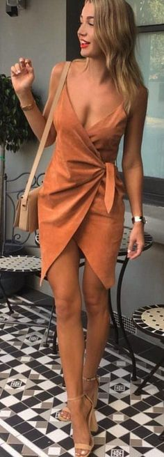 Suede dress in burnt orange.