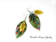No.01903 Origami Leaf Earrings w/ Antique Gold by KumikosOrigami, $19.50