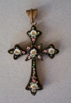 Antique Micro Mosaic Floral Cross Pendant Necklace Catholic Easter Mourning