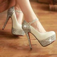 that is really cool with the plain beige and then having the heel and support as a silvery sparkly area.