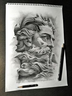Poseidon Tattoo, Poseidon Drawing, Zeus Tattoo, Statue Tattoo, Dark Tattoo, Tattoo Design Drawings, Tattoo Designs, Ocean Theme Tattoos, Greek Mythology Tattoos